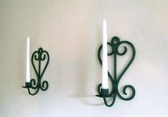 Wall candle holders, Pair of wall candle sconces, Verdigris wall sconces, Sconce candlestick holders, Wall candlestick holders, Wall…