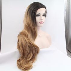 Hot Mimi wig Glueless Wavy Black root Ombre blonde Synthetic Lace front  wigs  Light Brown lace wig for women