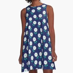 'Spring Daisies on Navy' A-Line Dress by daisy-beatrice 1960s Fashion, Spring Dresses, Line, Chiffon Tops, V Neck T Shirt, Daisy, Classic T Shirts, Tees, Casual