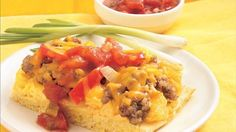Arrange eggs over hot crust and topped with sausage mixture - a baked breakfast that's served with salsa.