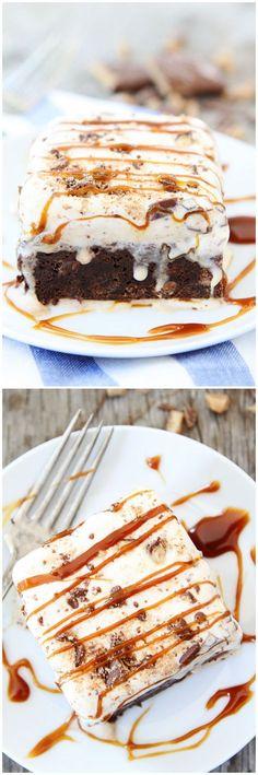Toffee Ice Cream Brownie Bars on http://twopeasandtheirpod.com. My new favorite dessert! #icecream #brownies