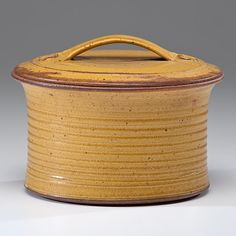Val Cushing (1931; USA)  Lidded Vessel ca 1958 Stoneware; 6.5, dia. 9.25 in.