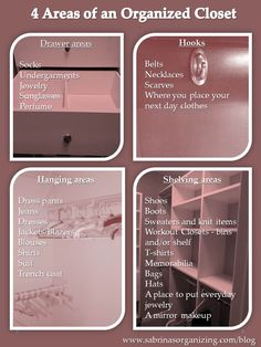 4 Areas of an Organized Closet - Sabrina's Organizing get rid of clutter in your closet.