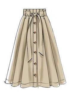 Misses' Belted and Button-Front Skirts Very full pleated skirts are worn above the waist and have button front front and back facings deep hem and length and carrier variations. A C: Narrow carriers for purchased belt. D: Wide carriers and self tie belt. Dress Design Sketches, Fashion Design Sketchbook, Fashion Design Drawings, Fashion Sketches, Fashion Drawing Dresses, Skirt Fashion, Fashion Outfits, Drawing Fashion, Trendy Fashion