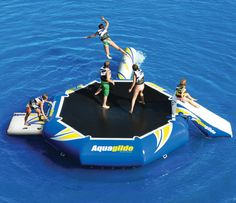Play on a water trampoline
