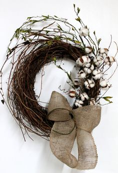 Primitive Front Door Wreath, Primitive Cotton on Twigs, Primitive Vine, Natural Burlap, Great for Country Decor -- FREE SHIPPING