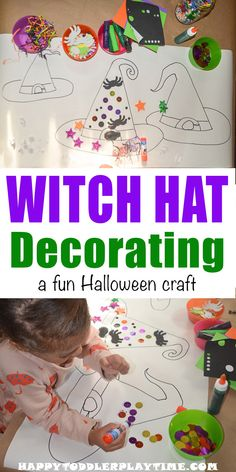 Witch Hat Decorating - HAPPY TODDLER PLAYTIME Here is fun, engaging and easy to set up Halloween activity your little one will enjoy! Decorate a witch's hat! Halloween Tags, Halloween Crafts For Kids, Crafts For Kids To Make, Easy Halloween, Halloween Decorations, Preschool Halloween, Halloween Witches, Holiday Crafts, Halloween Costumes