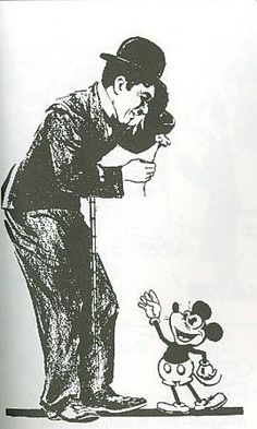 Charlie Chaplin and Mickey Mouse