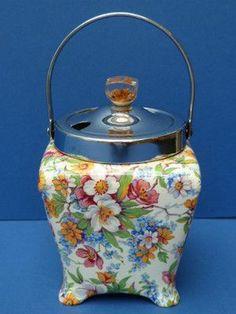 Vintage Chintzware   Lovely Vintage Midwinter Pottery Chintzware Preserve Jam Pot Chintz ...