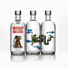 Absolut Mexico Limited Edition packaging design created for Absolut Vodka. Lakra pays tribute to Mexico, representing three of the most important elements of the legendary Mayan culture Absolut Vodka, Alcohol Bottles, Liquor Bottles, Vodka Bottle, Vodka Slush Recipe, Vodka Recipes, Label Design, Packaging Design, Graphic Design