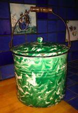 Green Swirl Agate Graniteware bucket
