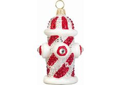 Candy Cane Crystal Encrusted Fire Hydrant Ornament