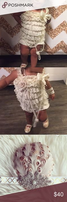 complete flapper/gatsby toddler outfit complete flapper/gatsby toddler outfit //worn once // huge hit // includes : costume pearl necklace + flapper head piece + flapper lace romper + CC broach Other