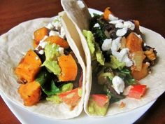 Cinco de mayo recipe:  chipoltle sweet potato and rainbow chard tacos!