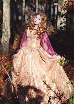 Maroon Medieval Gown with Gold Detailing
