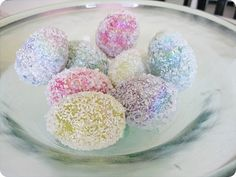 Epsom salt eggs.  Great idea, but I wonder if I could make a bath bomb that looks like this.  ????