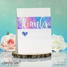 Used products: HoneyBee Stamps - Thanks die HoneyBee Stamps - Stitched Rectangle Ranger - Alcohol Inks Honey Bee Stamps, I Card, Alcohol, Thankful, Place Card Holders, Watercolor, Ink, Simple, Handmade