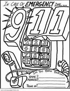 call 911 coloring pages - photo#35