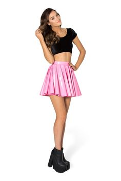PVC Princess Pink Cheerleader Skirt - LIMITED by Black Milk Clothing $70AUD