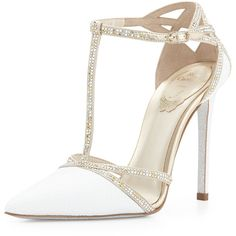 Rene Caovilla Crystal Snakeskin T-Strap Sandal (13770 MAD) ❤ liked on Polyvore featuring shoes, sandals, pumps, shoes pumps, white, glitter sandals, crisscross sandals, t strap shoes, t strap sandals and crystal shoes