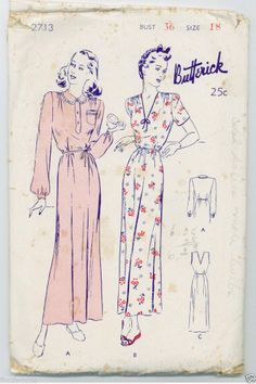 VTG 40s Butterick 3 Styles NIGHTGOWN Sewing Pattern 2713 Loungewear Pajama 18/36