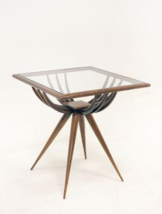 Giuseppe Scapinelli; Caviuna and Glass Side Table, 1960s.