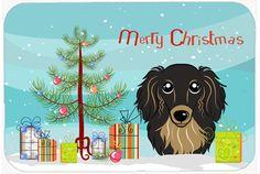 Christmas Tree and Longhair Black and Tan Dachshund Kitchen or Bath Mat 24x36 BB1585JCMT