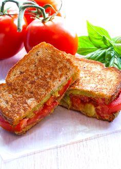 Grilled Tomato, Guacamole & Basil Sandwich