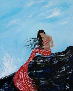 Sirena arte imprimir sirenas mujer océano marino fantasía arte