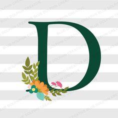 Letter D SVG, png pdf jpg ai dxf, Flowers, Floral Letter D, Monogram, Capital Letter D, Cut file, Cricut file, Silhouette cut, vector, vinyl