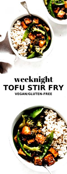 This tofu stir fry recipe is made with crispy cubes of tofu for a healthy quick Tofu Dinner Recipes, Easy Vegan Dinner, Dinner Recipes Easy Quick, Tofu Recipes, Vegan Dinners, Quick Easy Meals, Vegetarian Recipes, Healthy Recipes, Easy Dinners