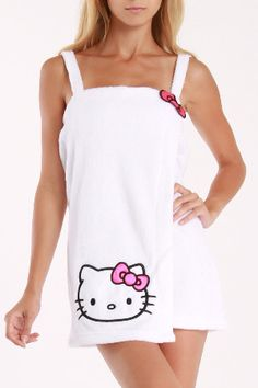Hello Kitty Shower Wrap ~ Perfect for College Student Skull Coloring Pages, Hello Kitty Clothes, Towel Dress, Hello Kitty Collection, Cute Pajamas, Men Looks, Pastel Pink, Diy Clothes, Girl Outfits
