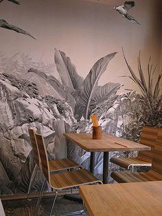 tapete ps floral bl tter palmen v gel tropisch 05550 40 beige gr n rot braun tropische. Black Bedroom Furniture Sets. Home Design Ideas