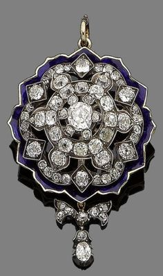 A late 19th century diamond and enamel brooch/pendant Of openwork design, set throughout with cushion-shaped and rose-cut diamonds, the largest to the centre, within a royal blue enamel border, suspending a later detachable bow set with cushion-shaped diamonds and an oval-cut diamond drop, principal diamond approx. 0.90ct, remaining cushion-shaped and oval-cut diamonds approx. 5.45cts total, composite, length 5.2cm, fitted case by Robert Jones & Sons, 2 Castle St, Liverpool