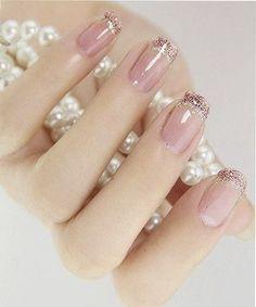 Most Beautiful Pink Glitter Wedding Nail Art