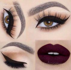 Plum lips, natural eyeshadow, and winged eyeliner.