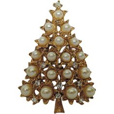R.J. Graziano Star Faux Pearl Rhinestone Christmas Tree Pin ~ Book Piece.  One of the few designers today that creates affordable and gorgeous trees!