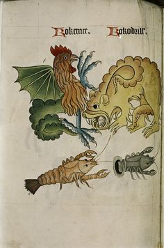 "Cockatrice and Crocodile, Dragon with human head in mouth, Crayfish, in ""The Tudor Pattern book"", ca. 1520/30, Ms Ashmole 1504"
