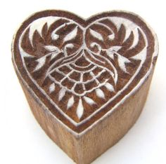 Heart Shaped Wood Block Henna Stamp Hand Carved In India