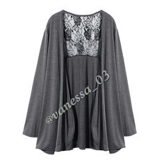 Gray Cardigan with Black Lace back.  I have a few, please don't Buy this Listing I will set you up a Listing   Gray Cardigan. Cotton Blend with Black Lace back. PRICE FIRM unless Bundled Sweaters