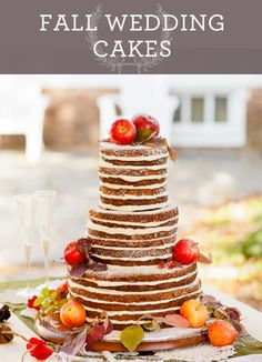 From maple icing accented with fondant leaves to tiers of pumpkin spice cake, these wedding cakes boast a true taste of fall. {Natalie Bell Photography}