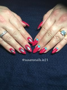 Red and blue gel nails