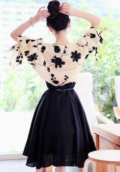 Black Flowers Embroidery 2-in-1 Lantern Sleeve Dress