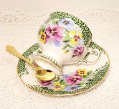 Rosina Green White Floral Footed Tea Cup & Saucer by catladycollectibles on Etsy