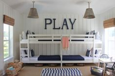 Very simple and light bunk beds with ladders on each side    22 Bunk Beds For Four, A Space-Saving Solution For Shared Bedrooms