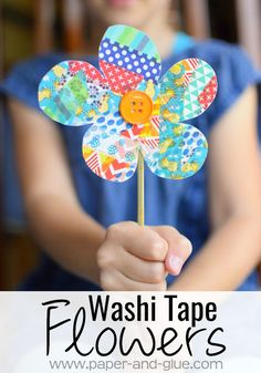 Washi Tape Flowers- Quick and easy craft for kids. Fun fine motor work for spring, great for preschool, kindergarten, or elementary children.