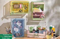 Ordnungshelfer aus Mandarinenkisten - Irina Jung - #aus #Irina #Jung #Mandarinenkisten #Ordnungshelfer Wood Crates, Little Gifts, Shadow Box, Diy And Crafts, Cool Stuff, Kindergarten, Scrapbook, Home Decor, Crates