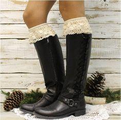 SWEET MAGNOLIA lace boot sock - ivory