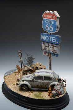 Route 66 motel vw type 1 1 35 scale model diorama car models diorama scale auto magazine for building plastic resin scale model cars trucks motorcycles dioramas car models diorama Route 66, Models Men, Mini Car, Miniature Cars, Military Diorama, Vw Bus, Volkswagen, Model Building, Vw Beetles