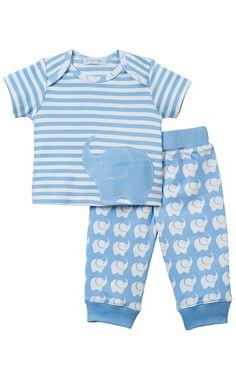 Le Top Baby 'Elephant Parade' Stripe Shirt & Pant